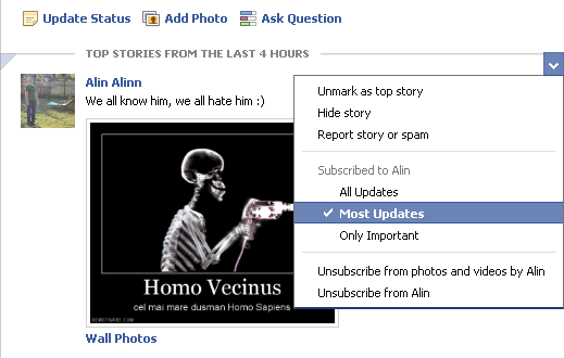 Facebook Top stories options