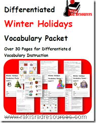 Free Differentiated Vocabulary Packet on Winter Holidays - Perfect for English Language Learners (ESL)