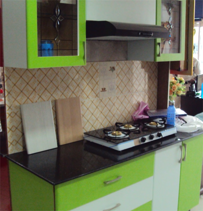 Chennai Home Designs Light Green Modular Kitchen Chennai