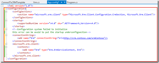 CRM 2011/ CRM 2013 Error : A configuration element with the