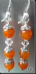 Orange Agate with Swaroski Crystal, sterling sliver ear hooks, caps and posts