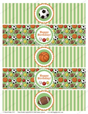 BL001 etsy 1 ball games water bottle labels
