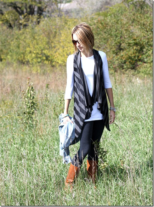 Easy no sew knit vest and tall boots
