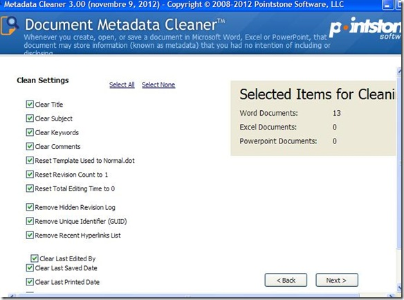 Document Metadata Cleaner eliminare metadati