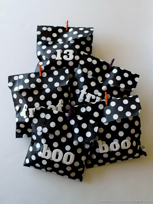 Black, White & Glitter Halloween Treat Bags via homework - carolynshomework (10)