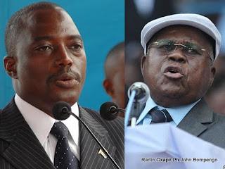 A gauche, Joseph Kabila, candidat de la Majorité Présidentielle et Etienne Tshisekedi, président de l'UDPS