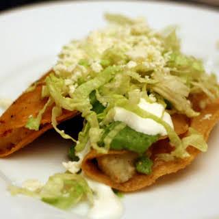 Potato Tacos with Avocado and Tomatillo Salsa.