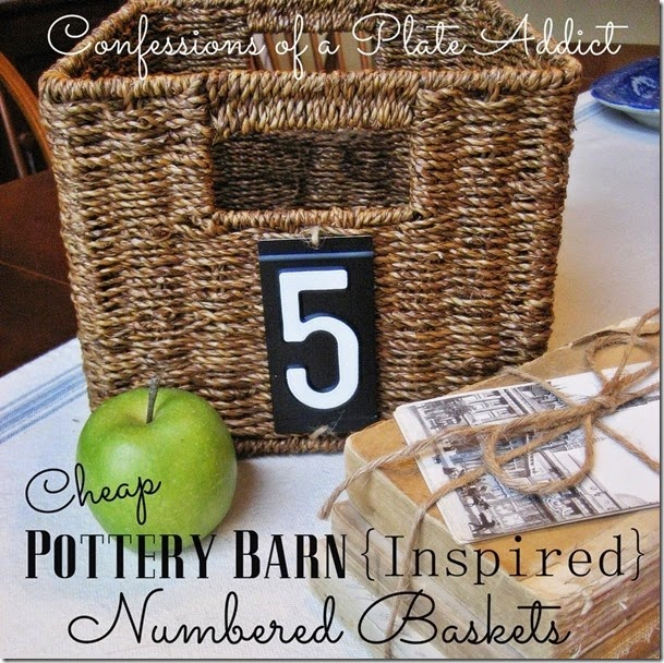 CONFESSIONS OF A PLATE ADDICT Pottery Barn Inspired Numbered Baskets