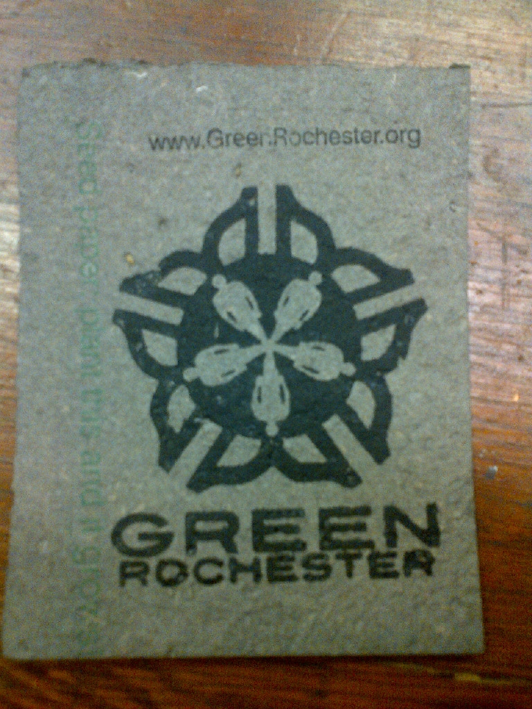 Green Rochester Logo on seed paper