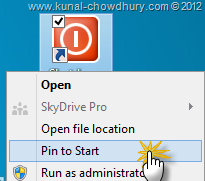 Pin the Icon to Start Screen of Windows 8