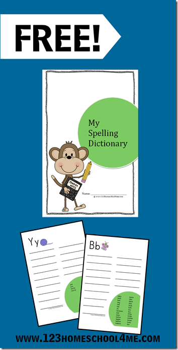 My Spelling Dictionary  - free printable half page book to help kids reference commonly misspelled words without having to lug out the dictionary every time. Perfect for 1st-6th grade.