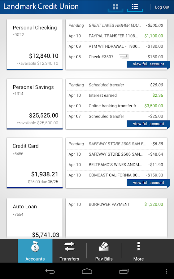 Landmark Credit Union Mobile - screenshot