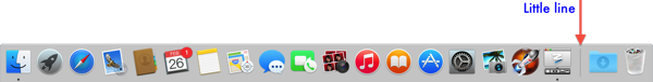 Yosemite horizontal Mac OS Dock with arrow