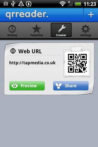 QR Reader for Android: screenshot