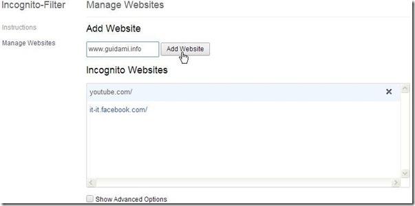Impostare chrome per aprire specifici siti in incognito - Finestra in incognito ...