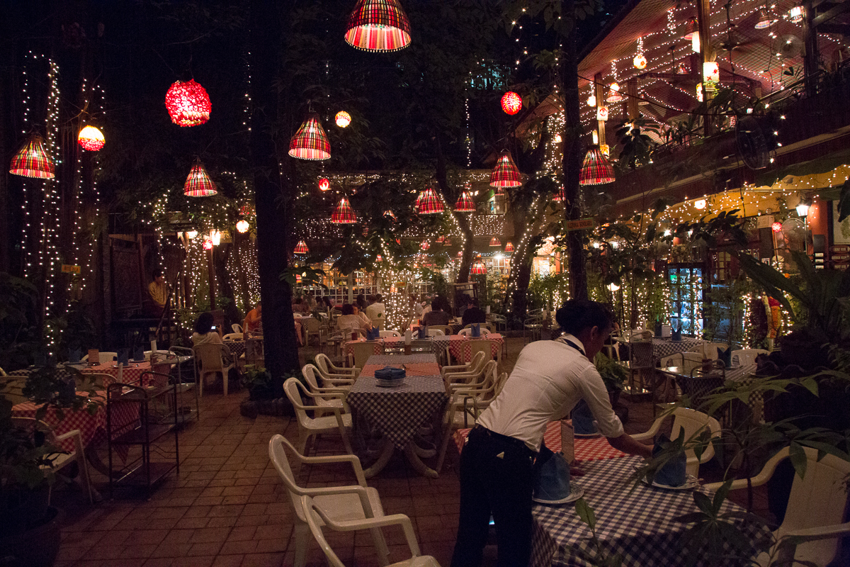 Evening photo of an open air restaurant