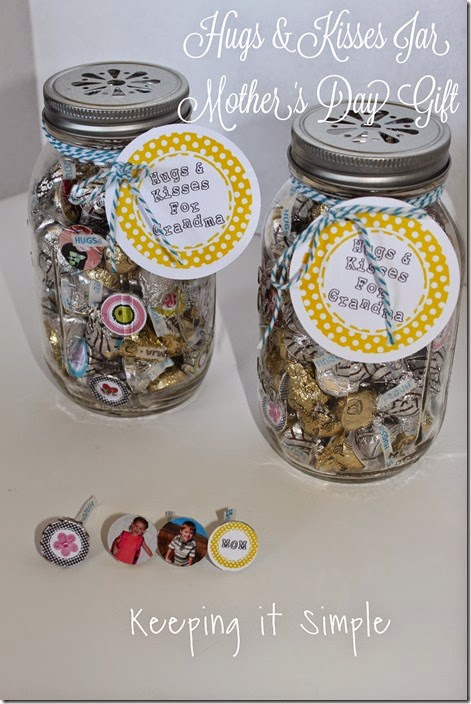 Mother S Day Gift Idea Hugs And Kisses Jar Free Printable Keeping It Simple