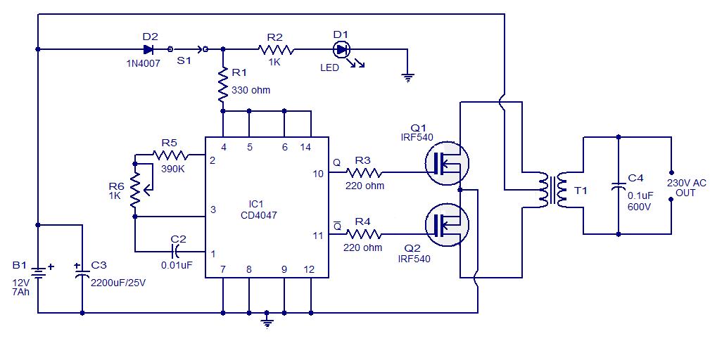 hobi elektronika kumpulan rangkaian inverter perubah tegangan aki dc 12v menjadi listrik ac 220v. Black Bedroom Furniture Sets. Home Design Ideas