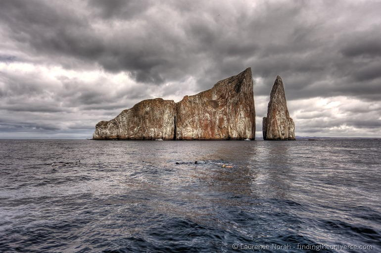snorkelling with a manta ray in the Galapagos kicker rock