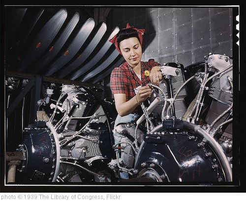 'Woman working on an airplane motor at North American Aviation, Inc., plant in Calif. (LOC)' photo (c) 1939, The Library of Congress - license: http://www.flickr.com/commons/usage/