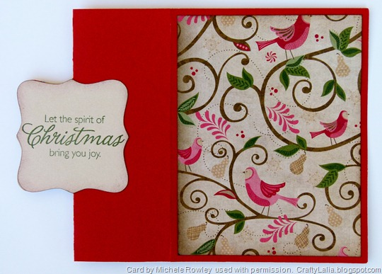 Pear and Partridge Artiste Swing Card with Merry & Bright CTMH Stamp set inside