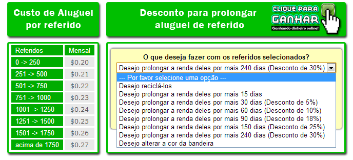 Valores de referidos do Neobux