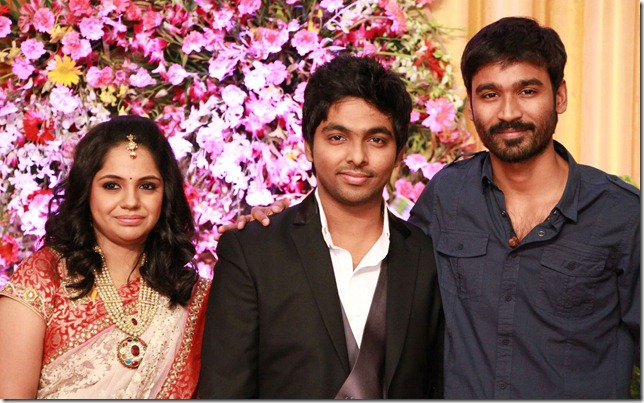 Dhanush at GV Prakash Kumar & Saindhavi Wedding Reception Photos