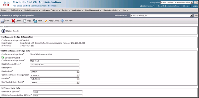 PandaeatsBamboo: Cisco UCM 8 6 using Cisco Telepresence MCU as Ad
