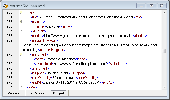 XML produced by MapForce from the Groupon API