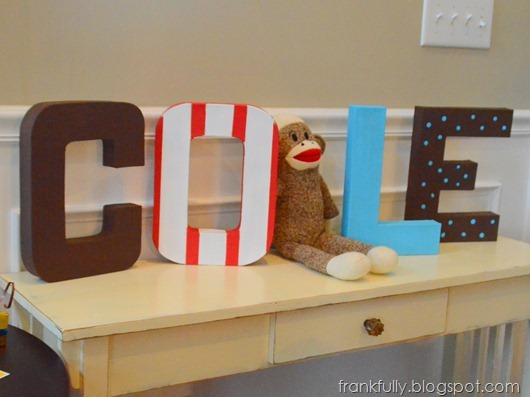 awesome painted letters spelling out COLE