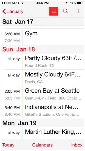 Calendar, vertically