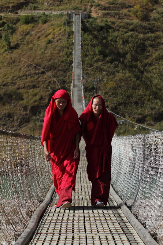 Monks on Punakha's Suspension Bridge