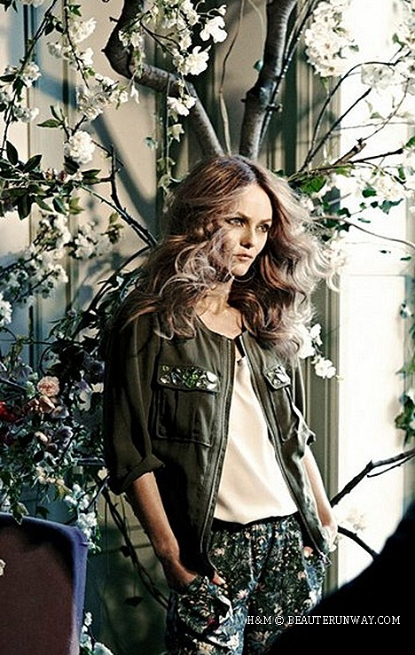 H&M Vanessa Paradis Conscious 2013 embellished utility jacket botanical print trousers, Spring Summer Men blazers, chinos,Ikat print shirts shorts trendy sustainable fashion accessories organic cotton, recycled polyester tencel