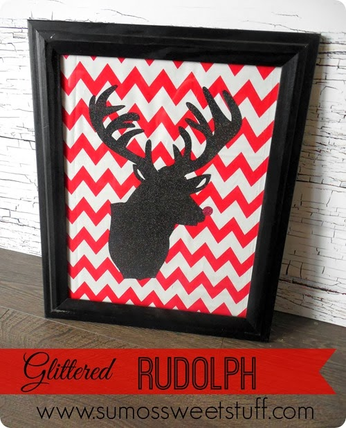 Glittered Rudolph at SumosSweetStuff.com #christmas #holiday #decoration