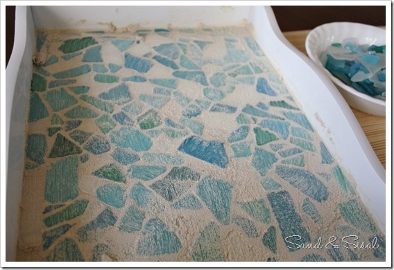 grouted sea glass mosaic tray