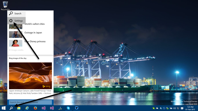 1. How to activate Cortana in Windows 10 - Open the settings pane