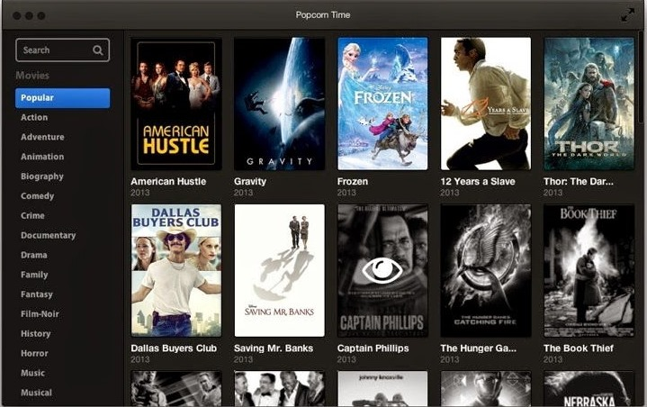 Stream Torrent Movies Online using Popcorn Time