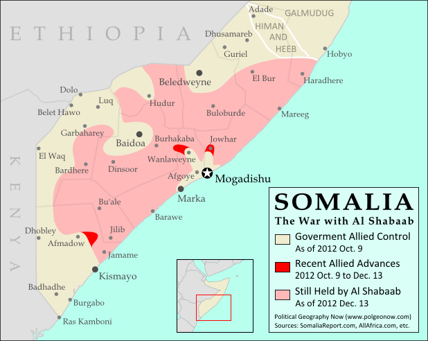 Map of Al Shabaab control in southern Somalia as of December 2012, highlighting recent advances by government and African Union troops since the capture of key port city Kismayo. Includes the December capture of Jowhar by Ugandan AU forces.
