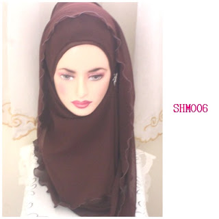 shawl halfmoon plain dark brown