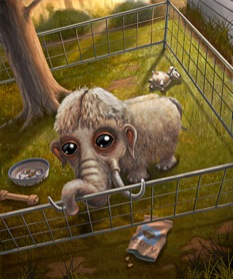 Illustration by Scott Musgrove accompanying the original publication in The New Yorker magazine of short story Shirley Temple Three by Thomas Pierce. Image shows the dwarf mammoth, brought to life out of its time, in its pen.