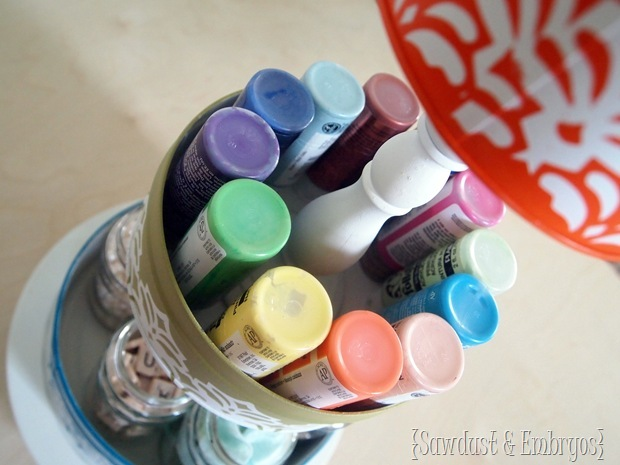 3-Tier Crafty Organizer using old tins and candlesticks! {Sawdust and Embryos}