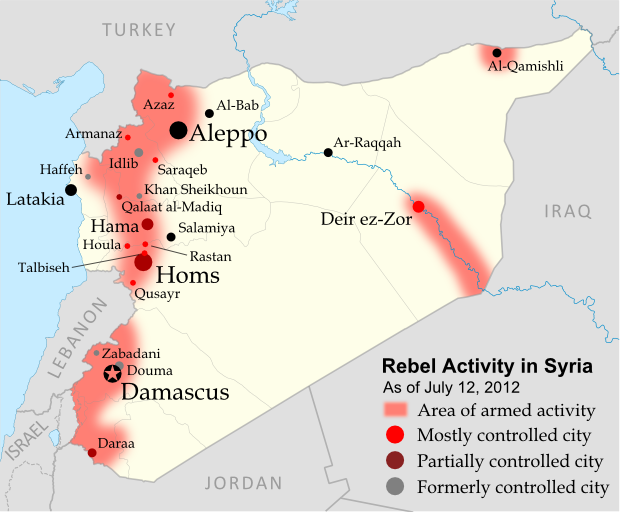Map of rebel control in Syria's Civil War, updated for July 2012