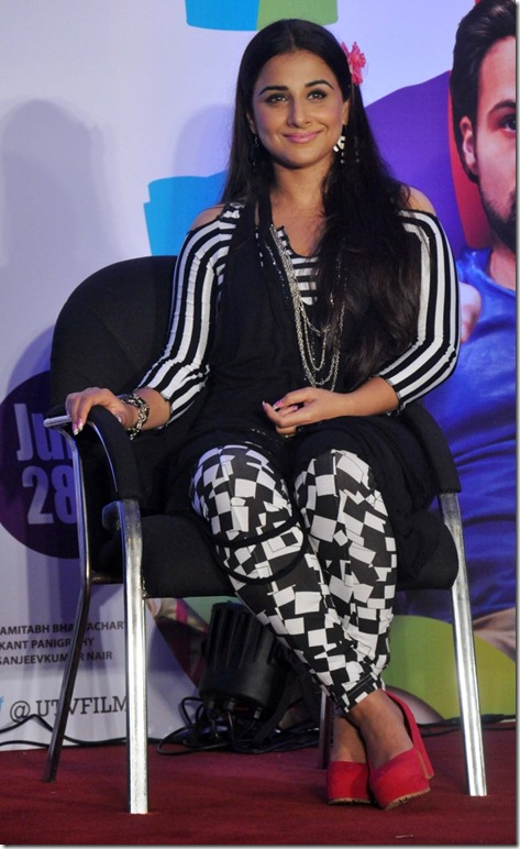 Vidya Balan Cute Photos in Black and White Checkered Dress