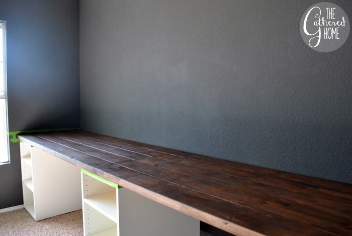 How To Make Diy Ikea Desk With Plank Top And Copper Pulls Varathane Dark