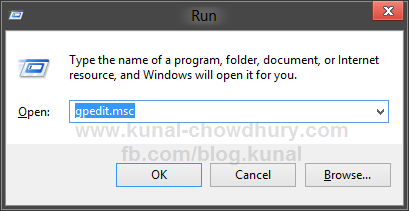 Open Group Policy Editor from Run Dialog