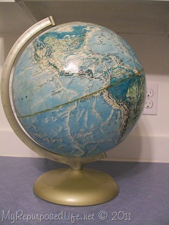 repurposed globe chalkboard paint