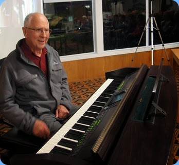 John Perkin played the Club's Clavinova CVP-509. Photo courtesy of Dennis Lyons.