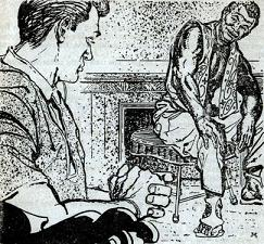 One of the illustrations by Martinez accompanying the reprinting in the British edition of Astounding Science Fiction magazine of short story The Man On the Bottom by Dean McLaughlin. Picture shows leaders of two undersea domes of warring nations conferring.