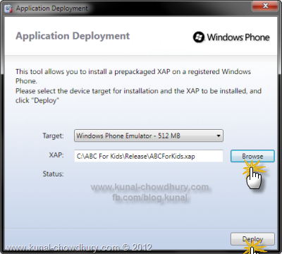 Windows Phone Application Deployment - Browse for the XAP