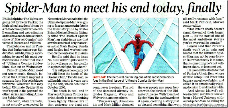 Times of India Chennai Edition Dated 22062011 Headlines Spiderman to meet his end